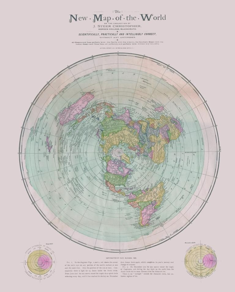 Flat Earth Map : New Map of the World : circa 1899 : Christopher