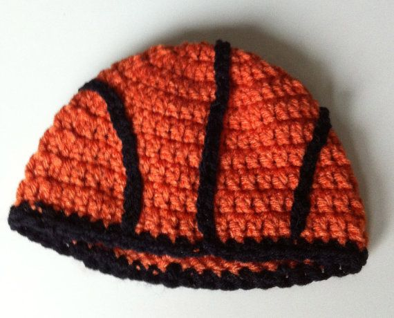 Crocheted Basketball Beanie  Custom Sizes Available  Newborn to Adult  Crocheted Basketball Beanie Photo Props on Etsy, $15.00