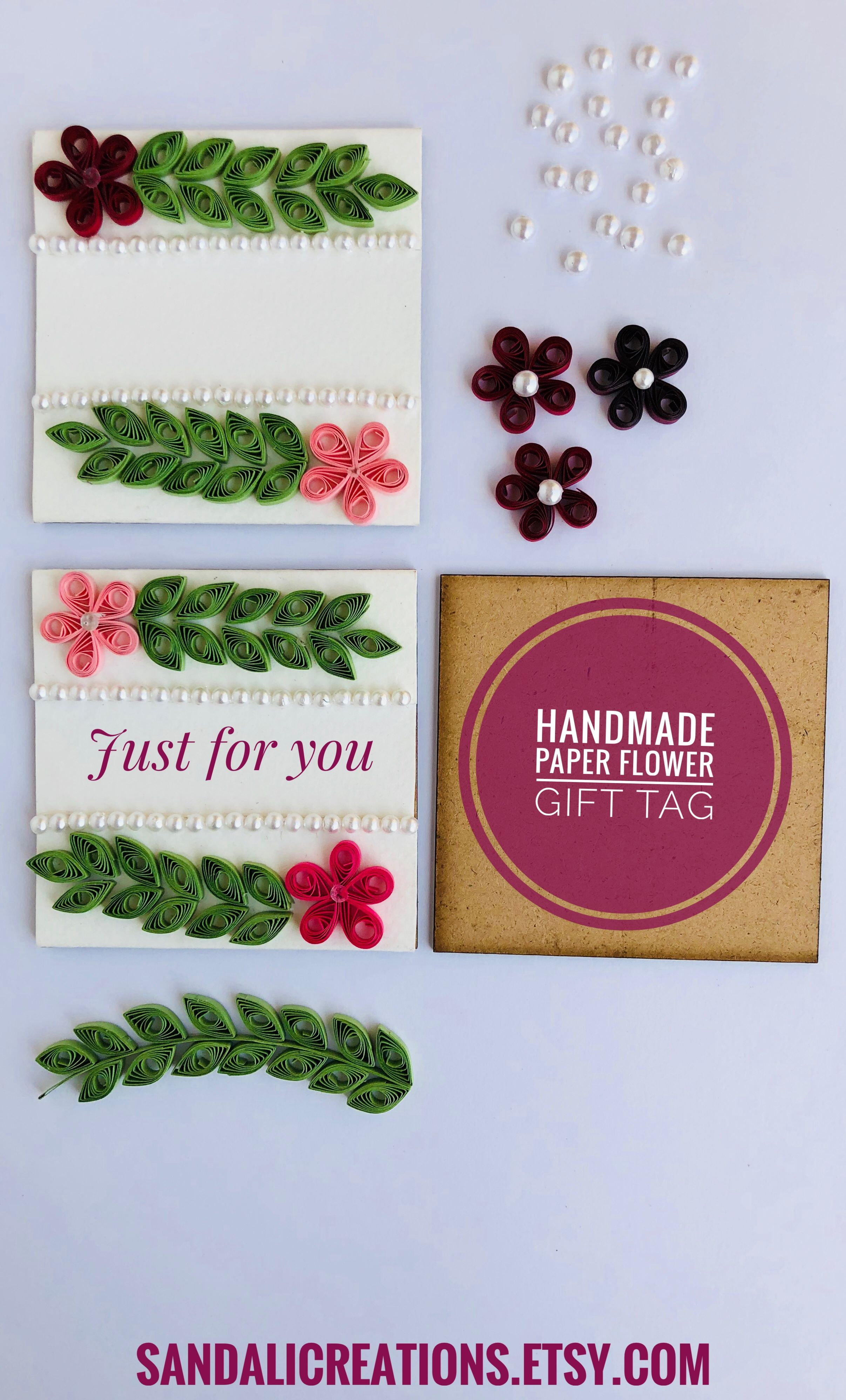 Set of holiday gift tageaster basket gift tagquilling flower