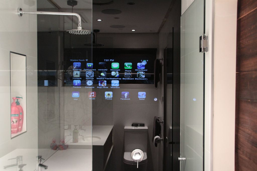 Wonderful Seamless Integrated Black Glass Full Height Shower Wall For Bathrooms.  Integrates With Home Automation Apps, Control 4 U0026 Push Controls.