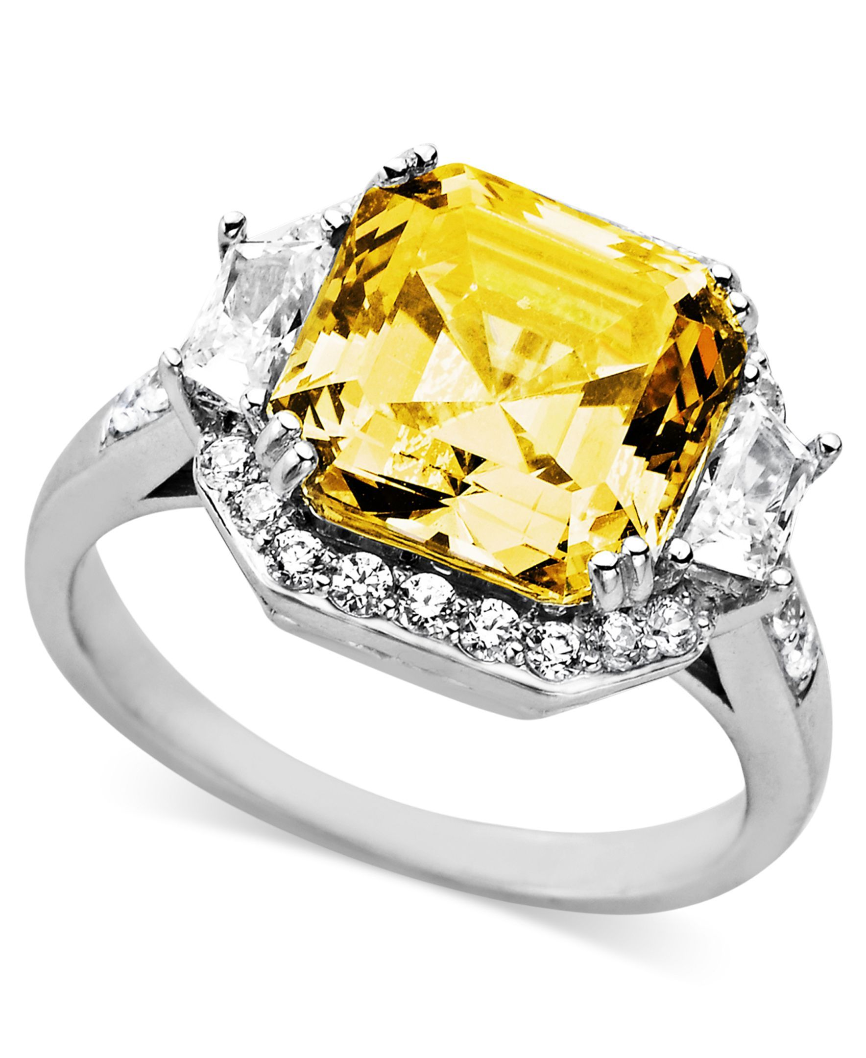 f5cb574c9 Arabella Sterling Silver Ring, Yellow and White Swarovski Zirconia Cushion  Cut Ring (10-1/3 ct. t.w.)