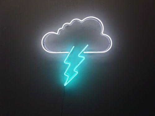 new cloud lightning bolt neon art sign handmade visual artwork wall