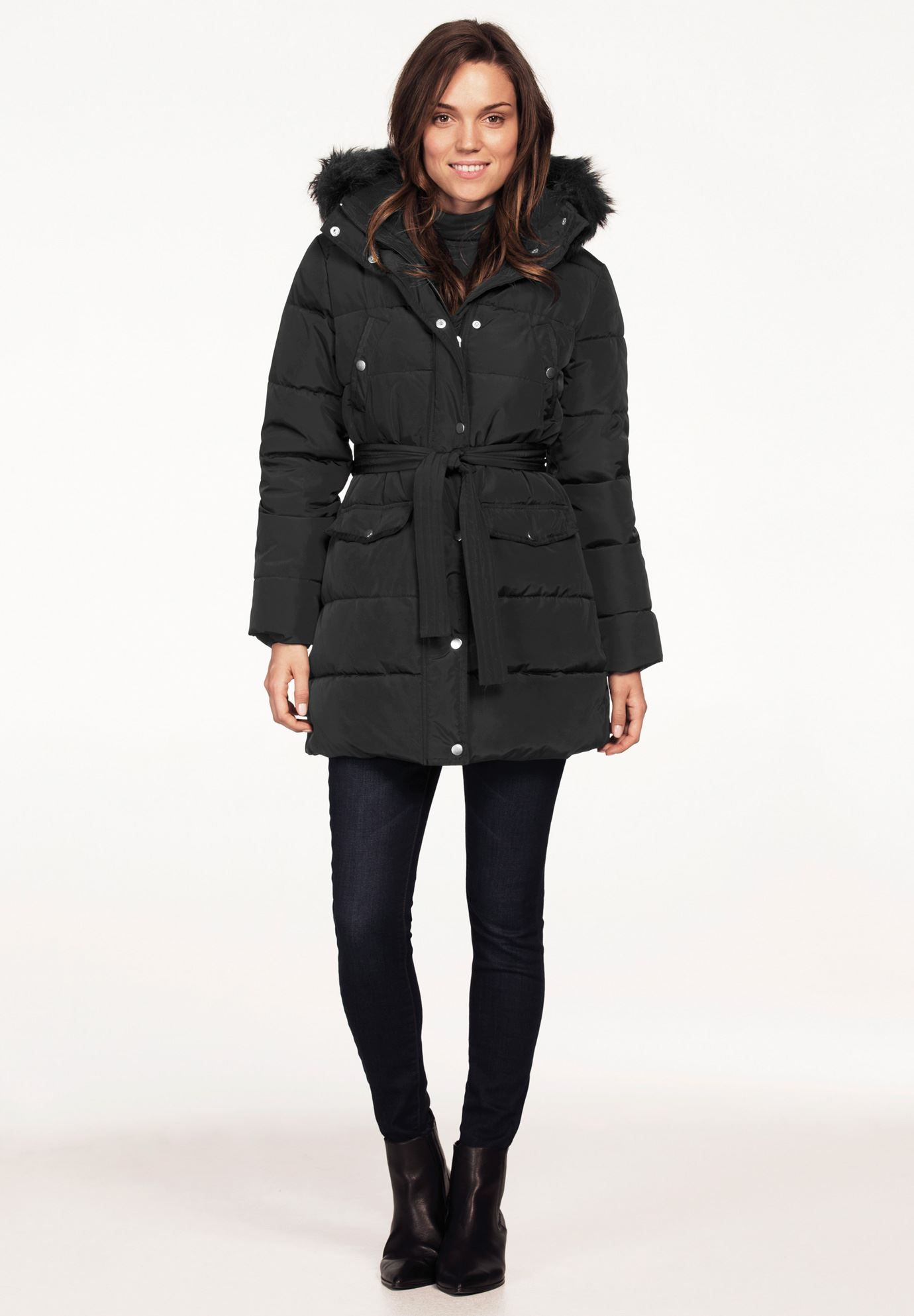 ellos Womens Plus Size Belted Puffer Coat