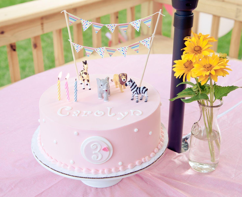 Girl animal birthday cake  Animal Birthday Party  Pinterest