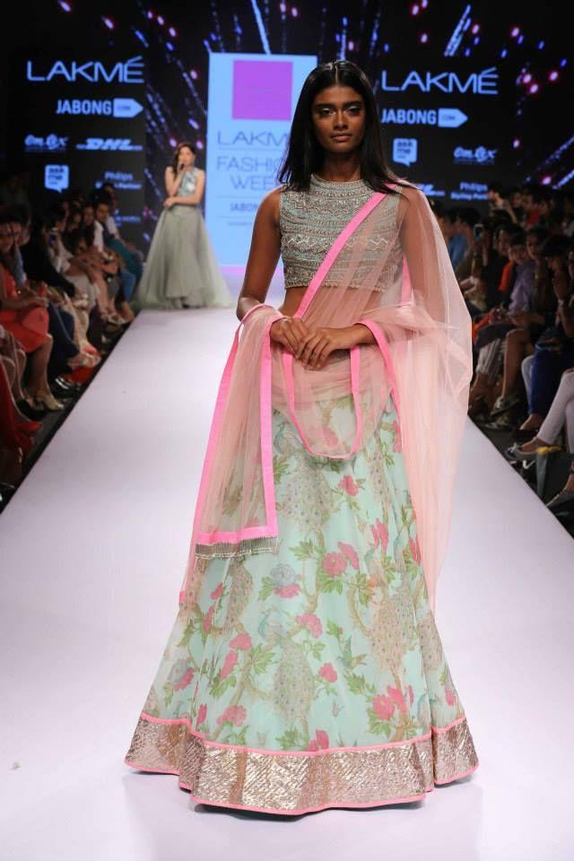 5221cde673c9af Anushree Reddy Light Blue Floral #Lehenga At Lakme Fashion Week 2015 ...