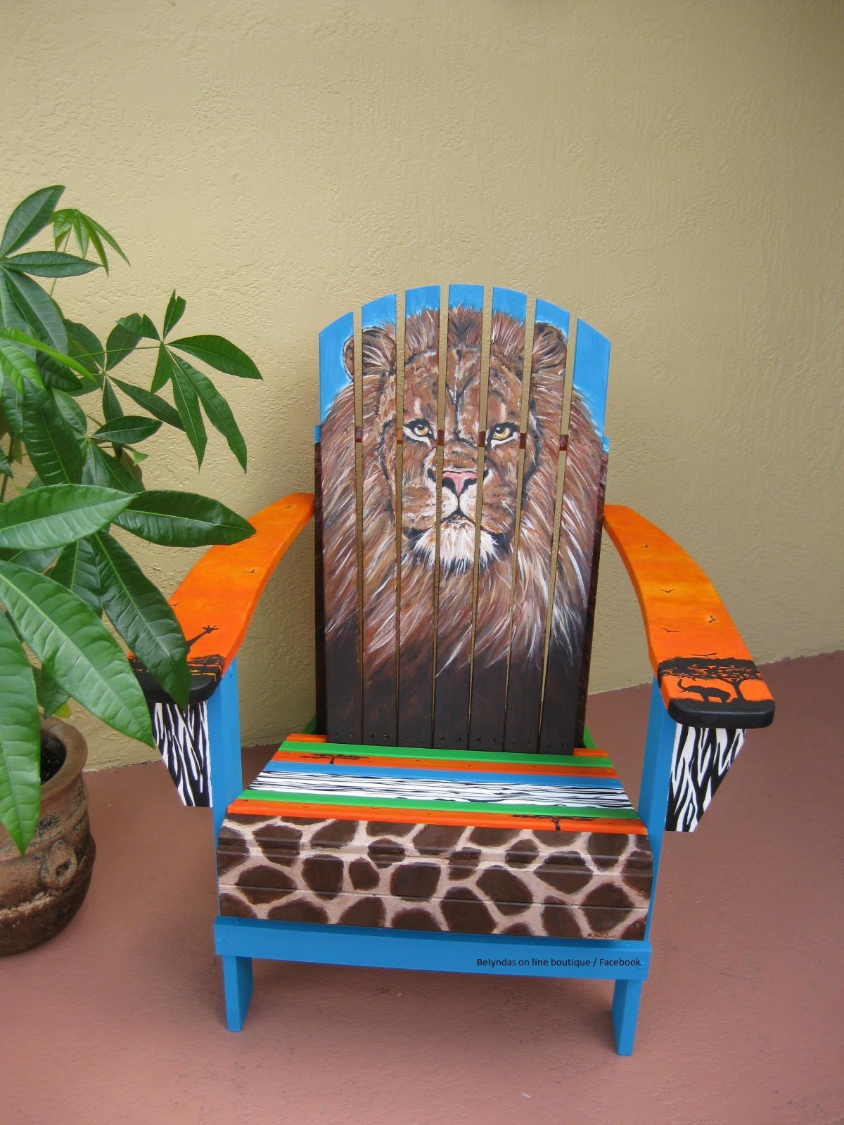 Hand Painted Adirondack chair King of the Jungle