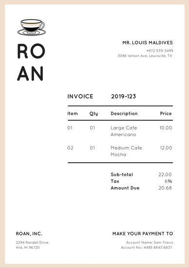 Bisque Coffee Mug Invoice Letterhead Stationary Design Pinterest - invoice letterhead