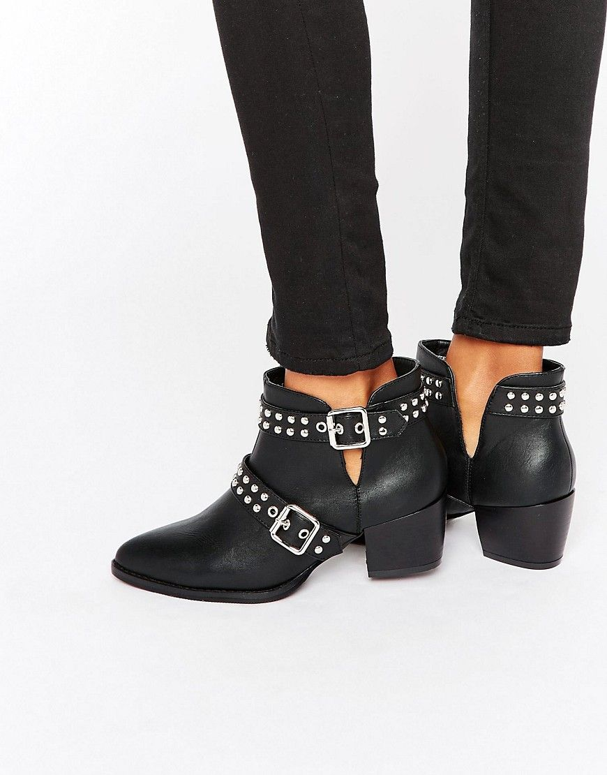 bc74743e0c1 Image 1 of Truffle Collection Stud Strap Point Mid Heeled Ankle Boots