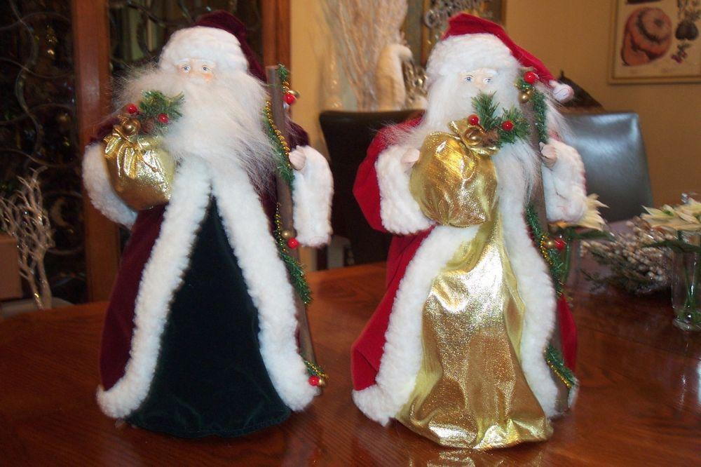 "Gorgeous Santa Tree Topper/ Shelf Sitter Set/2 16"" Red Gold & Burgundy Green NEW"