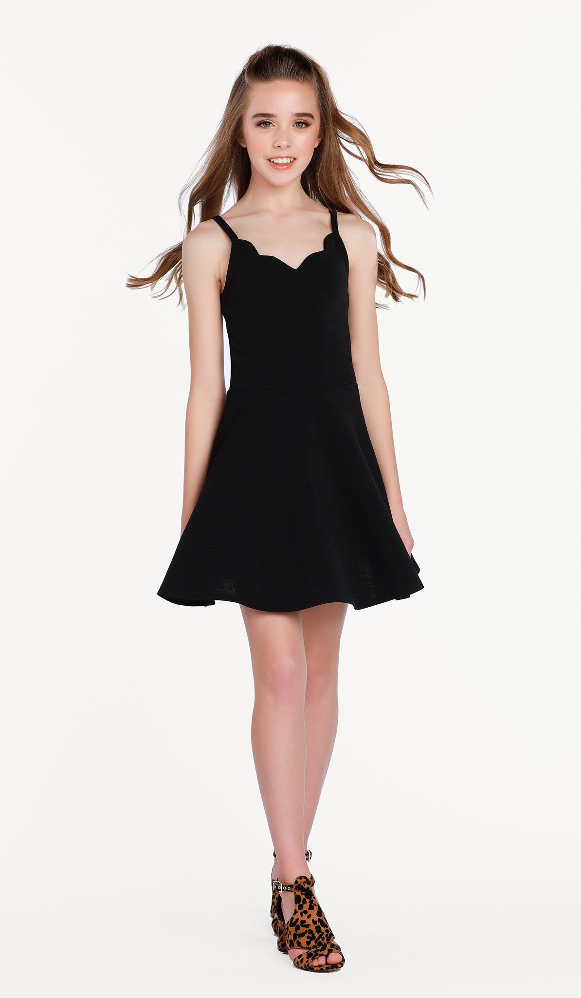 The Sally Miller Laynie Dress in Black - Black textured stretch knit fit and flare dress with scallop detail #sallymiller