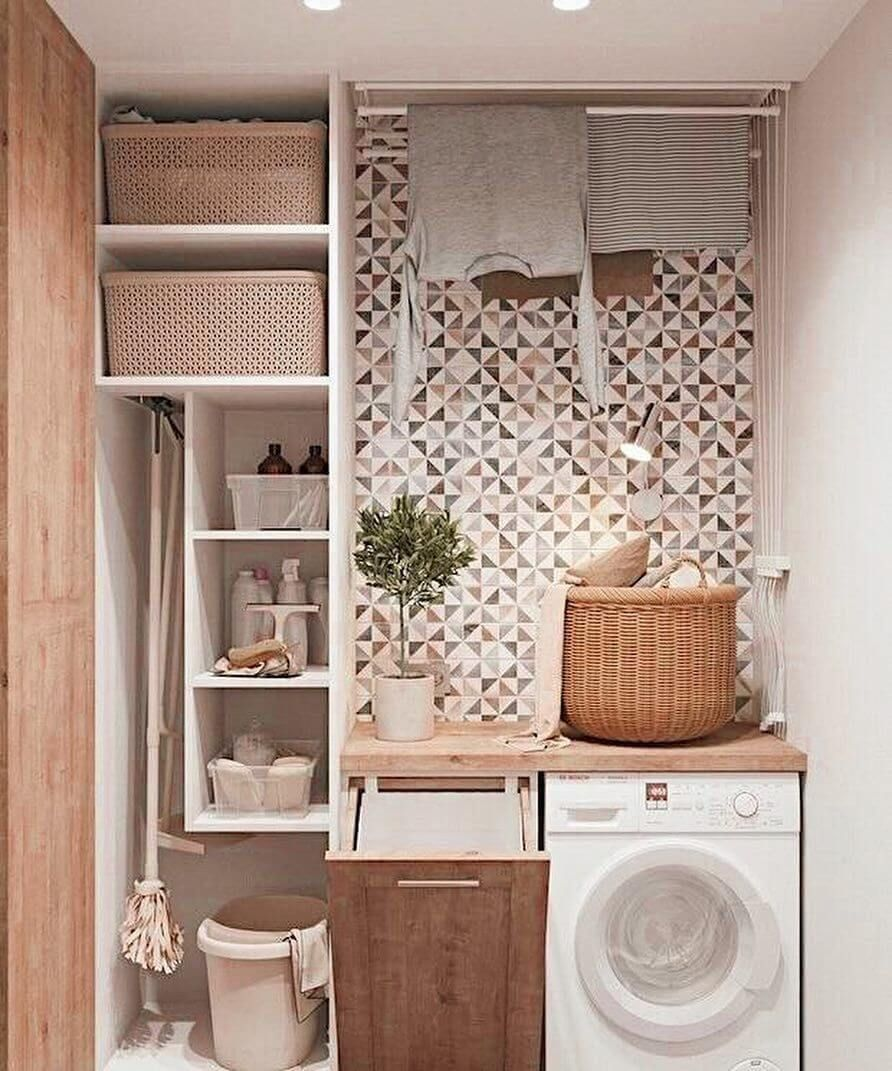 Need inspiration to decor and organize your small laundry space? Here are 20 of our best laundry room designs and organization ideas! #organizedlaundryroom #smalllaundrysolutions #laundryorganizationideas #smalllaundryorganization