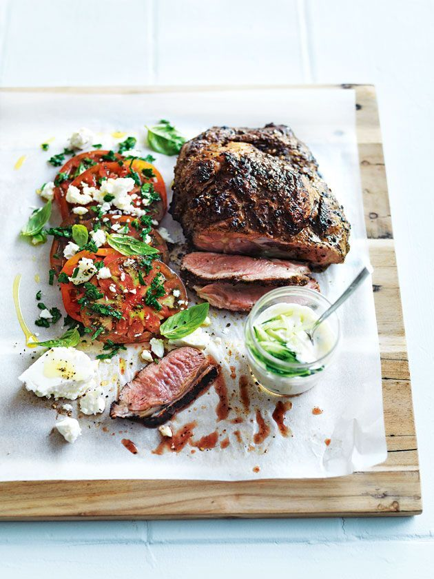 char-grilled lamb shoulder with tomato and feta salad