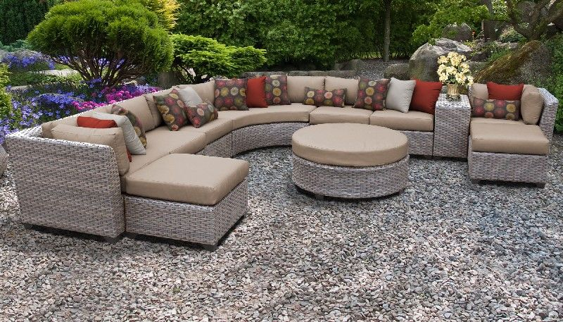 Florence 11 Piece Outdoor Wicker Patio Furniture Set 11c in Wheat - TK Classics Florence-11C-Wheat
