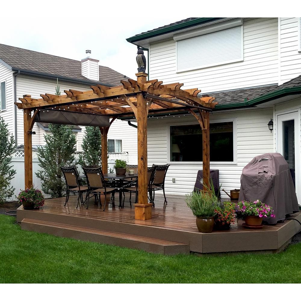 Outdoor Living Today 10 Ft X 12 Ft Arched Breeze Cedar Pergola With Retractable Canopy Bz1012archwrc The Ho Cedar Pergola Outdoor Pergola Deck With Pergola