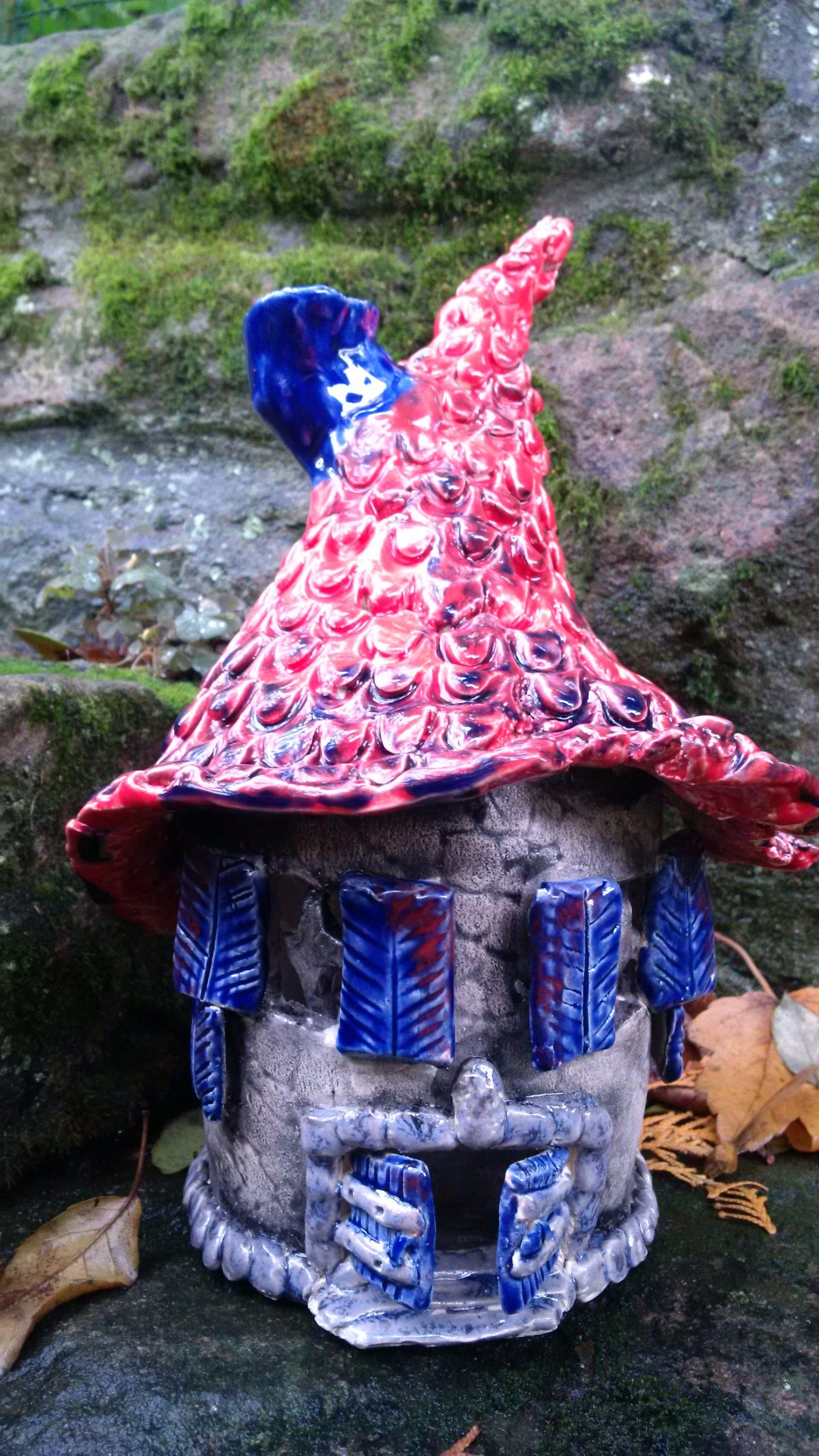 Keramik Hexenhaus- Windlicht aus Ton