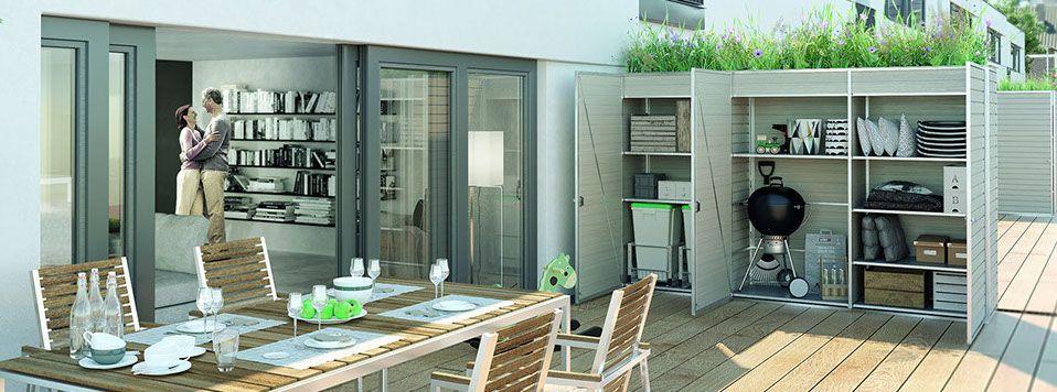 trennwand mit sichtschutz und abstellraum f r garten balkon und terrasse ig cube. Black Bedroom Furniture Sets. Home Design Ideas