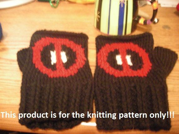 Knitting Pattern Deadpool Fingerless Gloves by DuckyDame on Etsy ...
