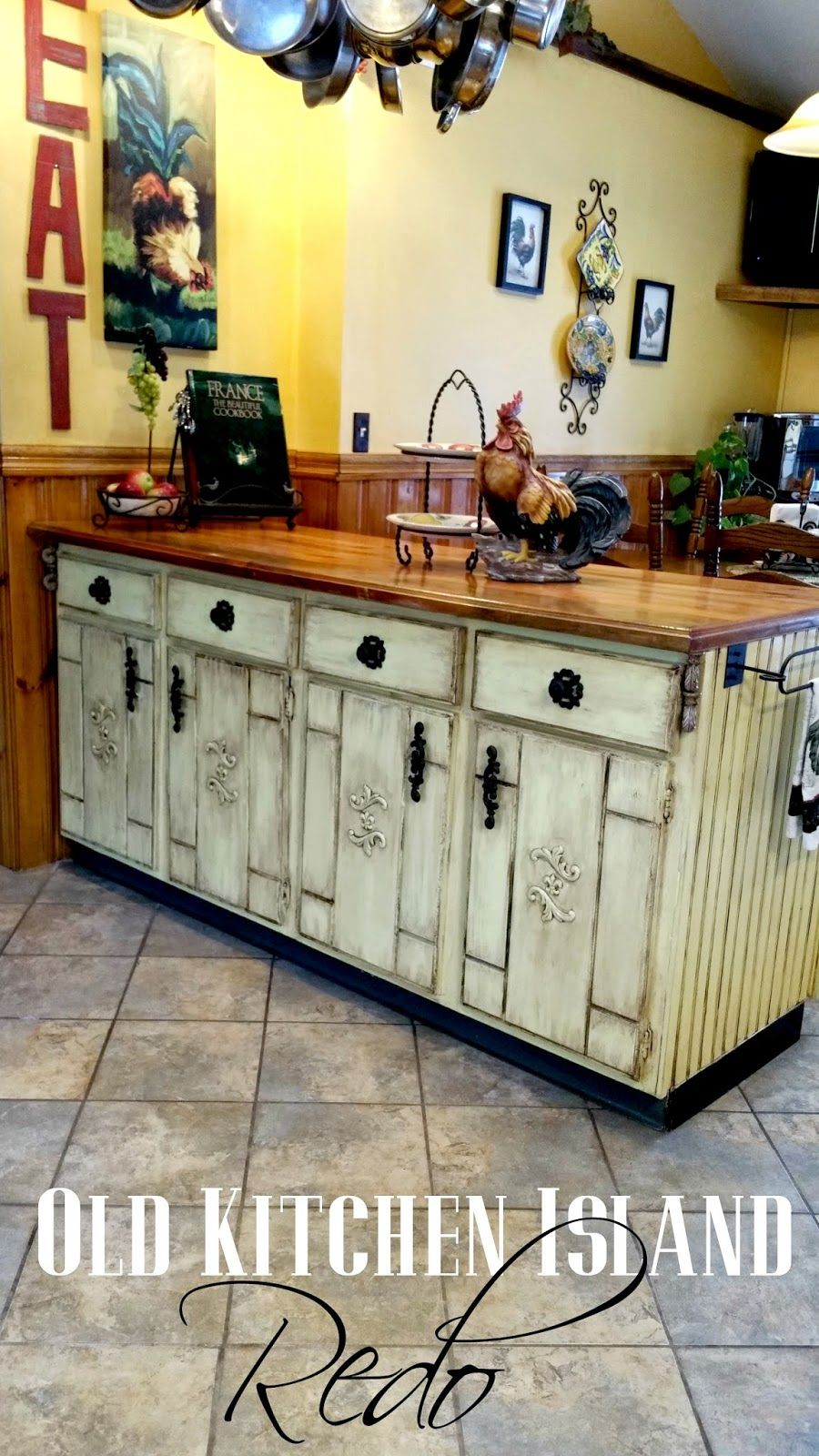 Kitchen Island Gets Country French Makeover {guest post