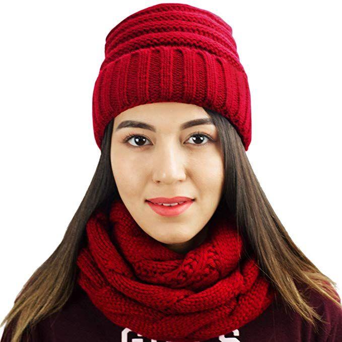 28c239a5d73 Knit Infinity Scarf Beanie Hat Set Women Winter Circle Loop Scarfs Scarves  (Burgundy) at Amazon Women s Clothing store   women  winter  winterfashion  ...