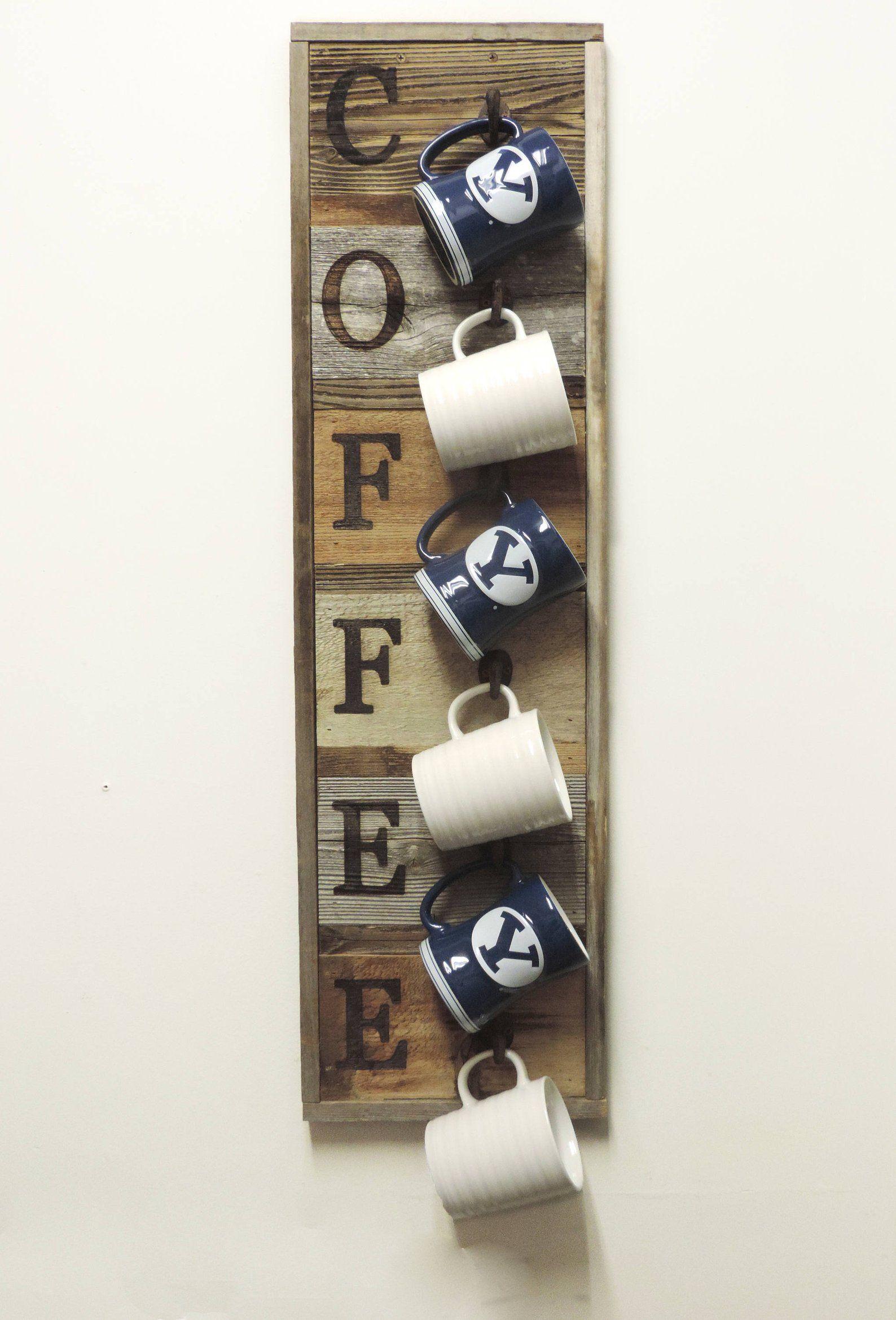 Vertical Barnwood Coffee Mug Rack Wall Mounted, Wooden