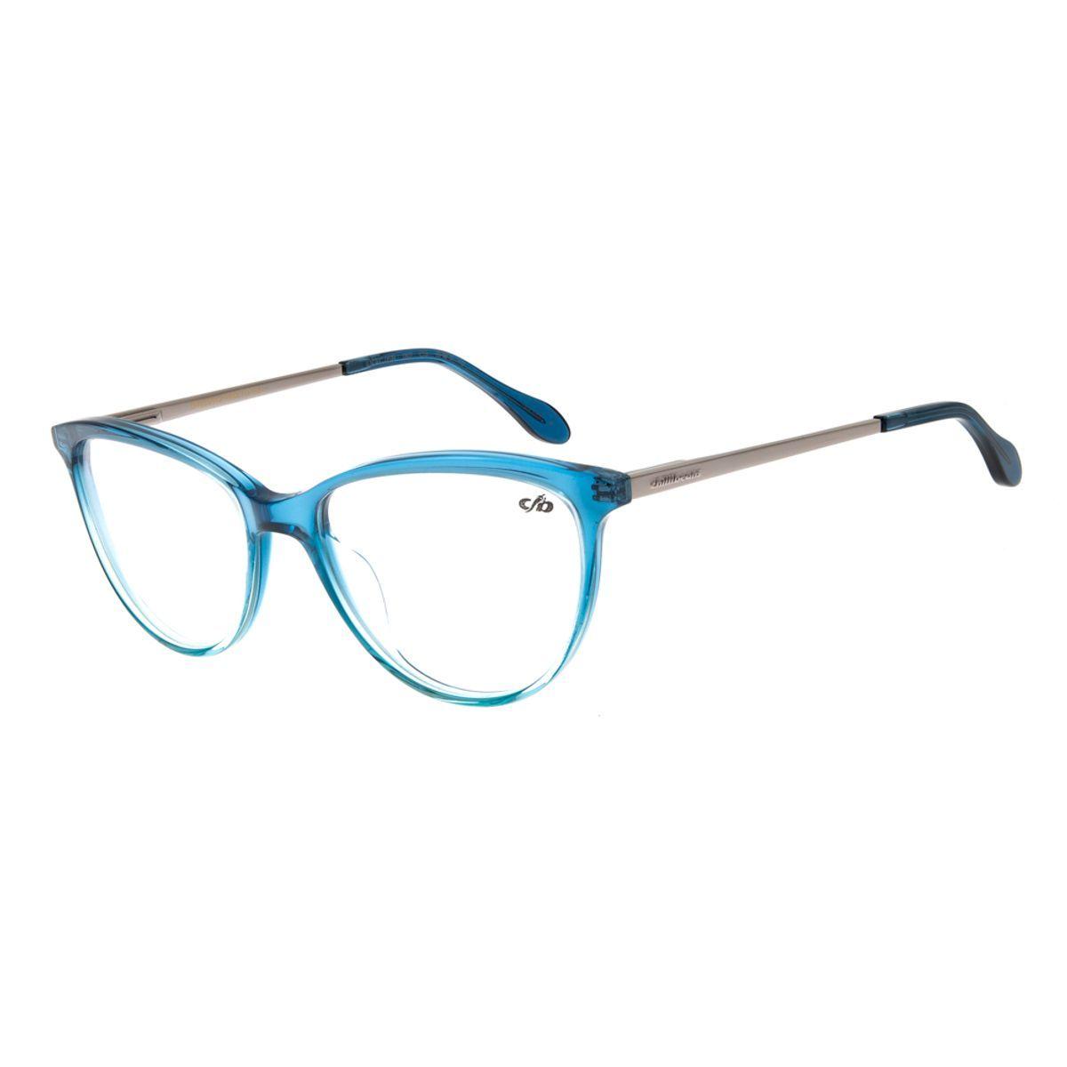 Armacao Para Oculos De Grau Feminino Gatinho Azul Chilli Beans