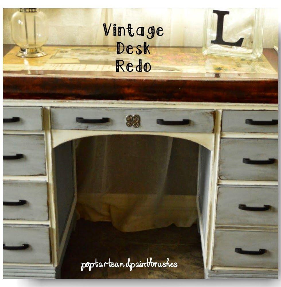 Poptarts and Paintbrushes Waterfall vintage desk redo.