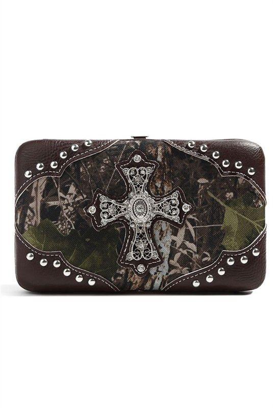 Brown Camouflage Cross Deco Hard Case Wallet M