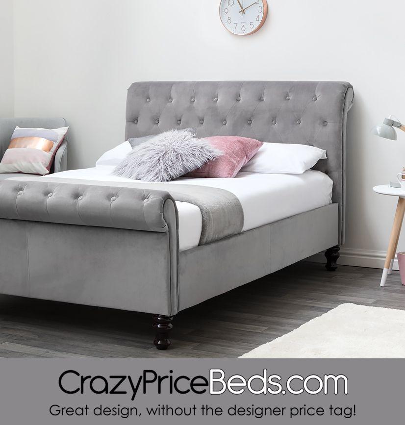 Lambeth Grey Velvet Upholstered Chesterfield Sleigh Bed Frame