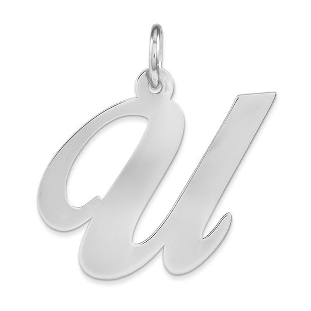 Ella Collection LG Fancy Script Initial U Pendant Sterling Silver