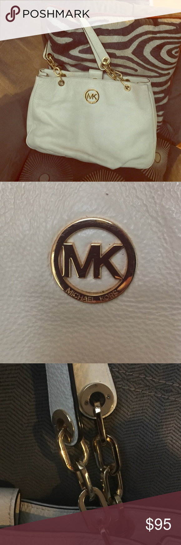 Authentic Michael Kors leather tote w/ gold accent Great condition. Lots of pockets. Stunning bag Michael Kors Bags Totes