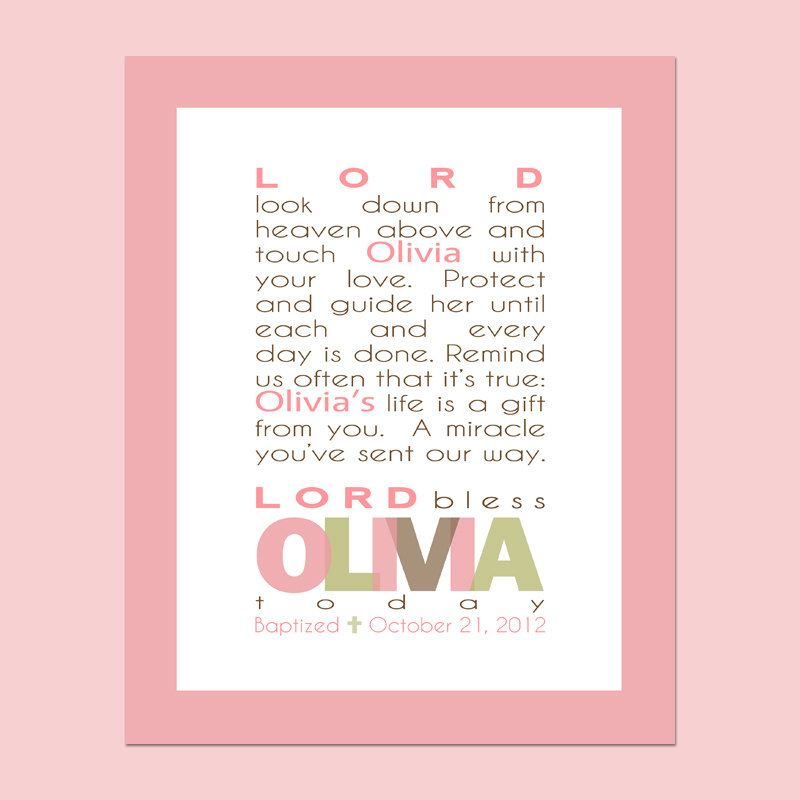 Girls prayer printable wall art personalized with childs name girls prayer printable wall art personalized with childs name baptism gift christening gift baby gift first communion gift negle Image collections