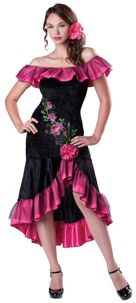 d305ba2988af Flirty Flamenco Latin Spanish Dancer Adult Womens Costume NEW  InCharacter   Dress