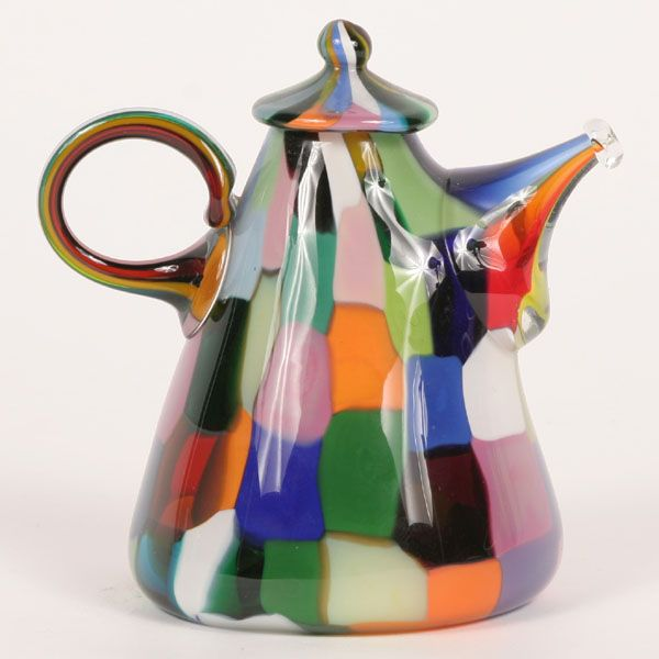 "Richard Marquis (American, b. 1945) non-functional teapot composed of polychrome opaque and aventurine patches; engraved signature ""Marquis A014-77"". 6""H. Very good condition with no chips, cracks or repairs."