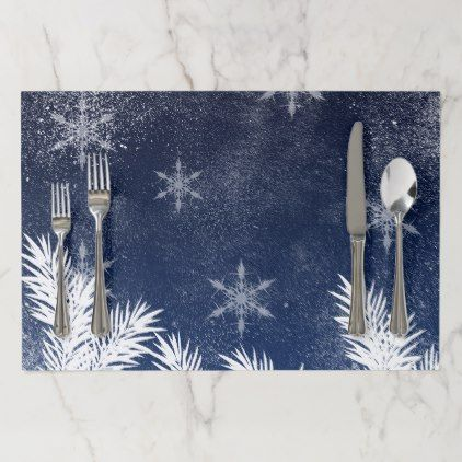 Winter White Snow Pine Trees Navy Blue Christmas Paper Placemat Winter Gifts Style Special Unique Gift Ideas Blue Christmas Christmas Paper Placemats