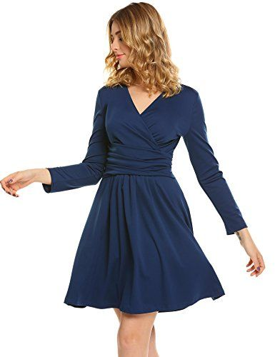 44c9e7a9f3c Zeagoo Women Loose Flowy V Neck Long Sleeve Pretty Cocktail Dress 100%  Brand New 3 Colors  Wine Red
