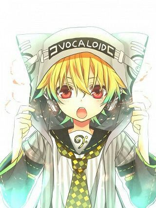 Vovaloid Anime Male Blonde Hair With Green Highlights Red Eyes Anime Vocaloid Characters Anime Chibi