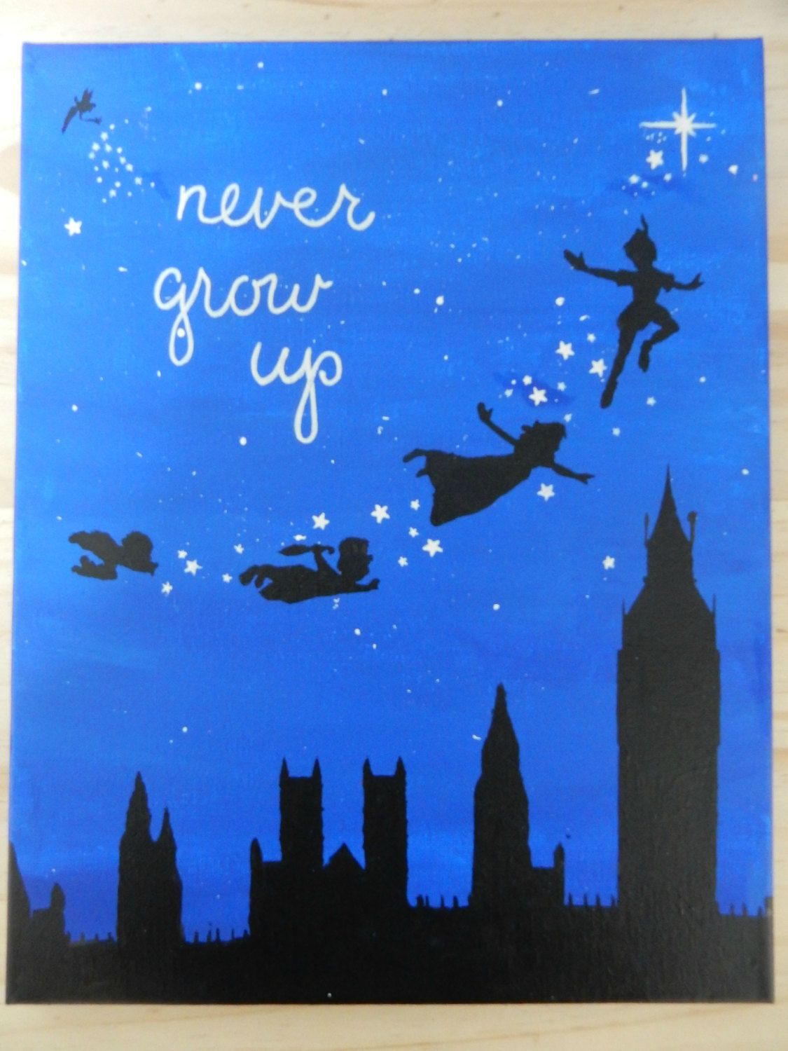 Never Grow Up Quote Peter Pan Silhouette By Store94crafts On Etsy