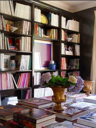 Black bookshelves - floor to ceiling