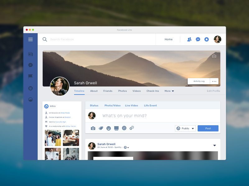 Facebook Lite Macos App Profile Page Profile Live Video Lite