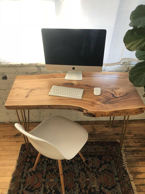 Live Edge Desk Scandinavian Style White Washed Console Table