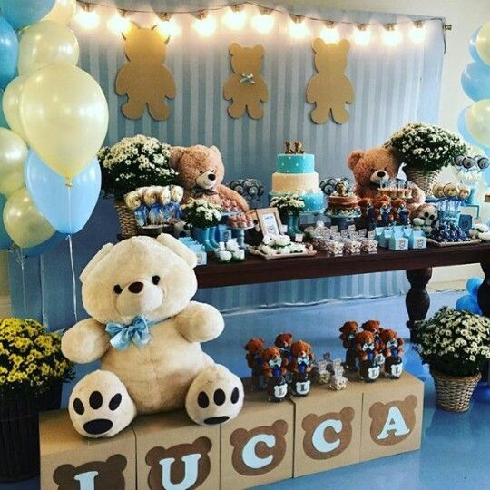 Pin de claudia acosta en babyshower con osos en 2019 for Mesa de dulces para baby shower nino