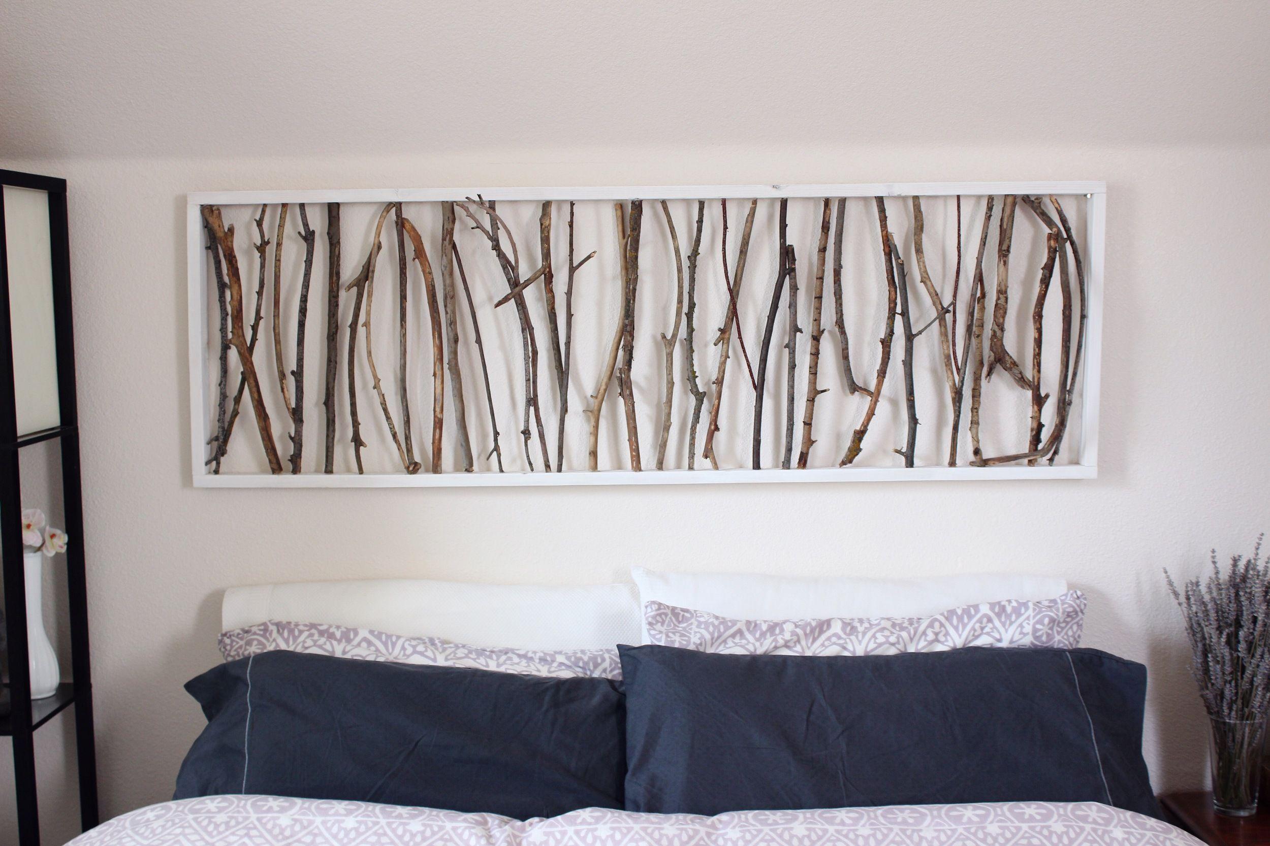 Diy Branch Art Headboard Emorie Kidder Homemade Wall Art