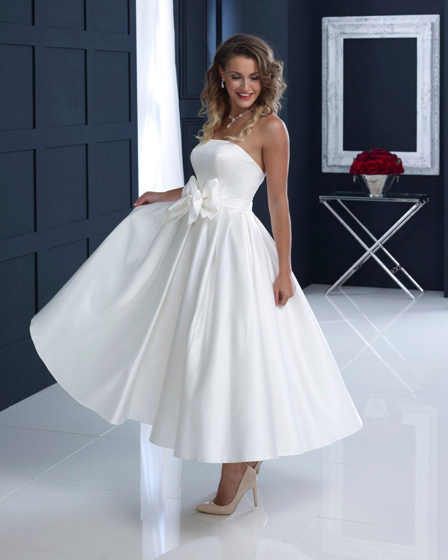 hn-abigail Strapless satin tea length wedding gown | 50\'s Wedding ...