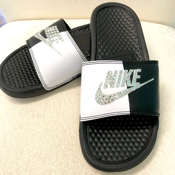 size 40 1776b 6e702 Nike Benassi Slides Sandals White Black White Pure Platinum Custom Bling  Clear Crystal Swarovski Fli