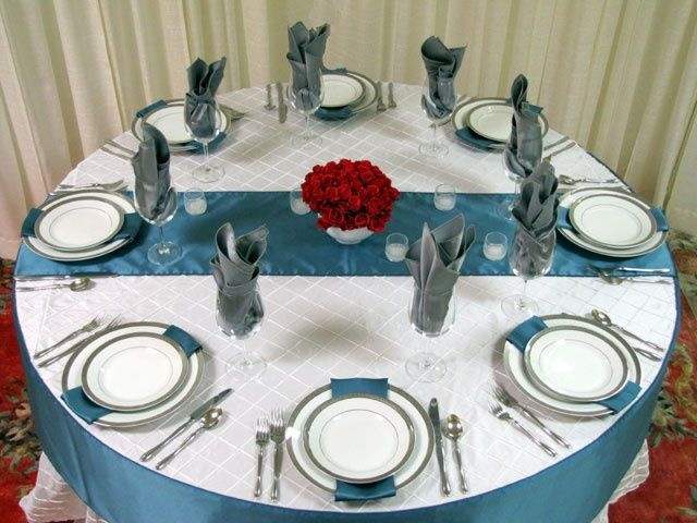 Silver And Teal Table Setting Ideas | Teal, Red U0026 Silver Wedding Tablscape