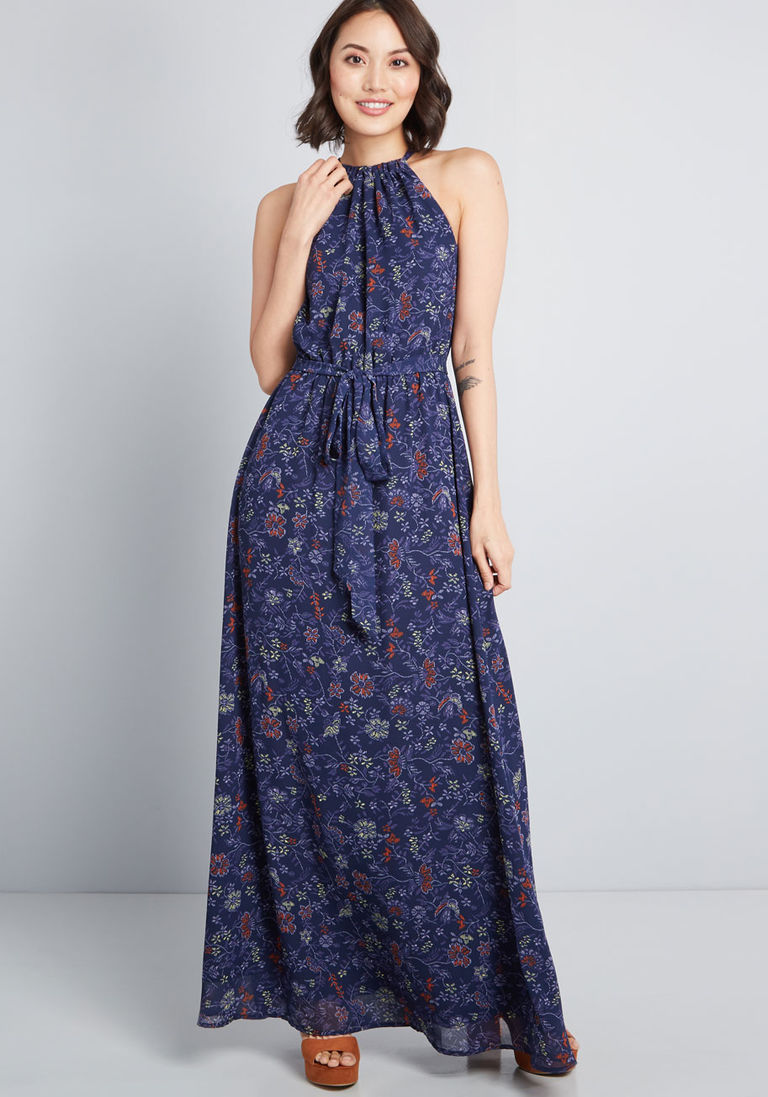 40931d7f448 Illuminated Elegance Chiffon Maxi Dress in 2X - Halter A-line Long by  ModCloth
