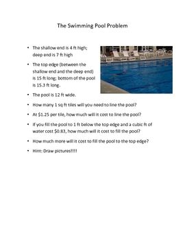Swimming Pool Problem Area And Volume Swimming Pools Math Problem Solving Teaching Geometry