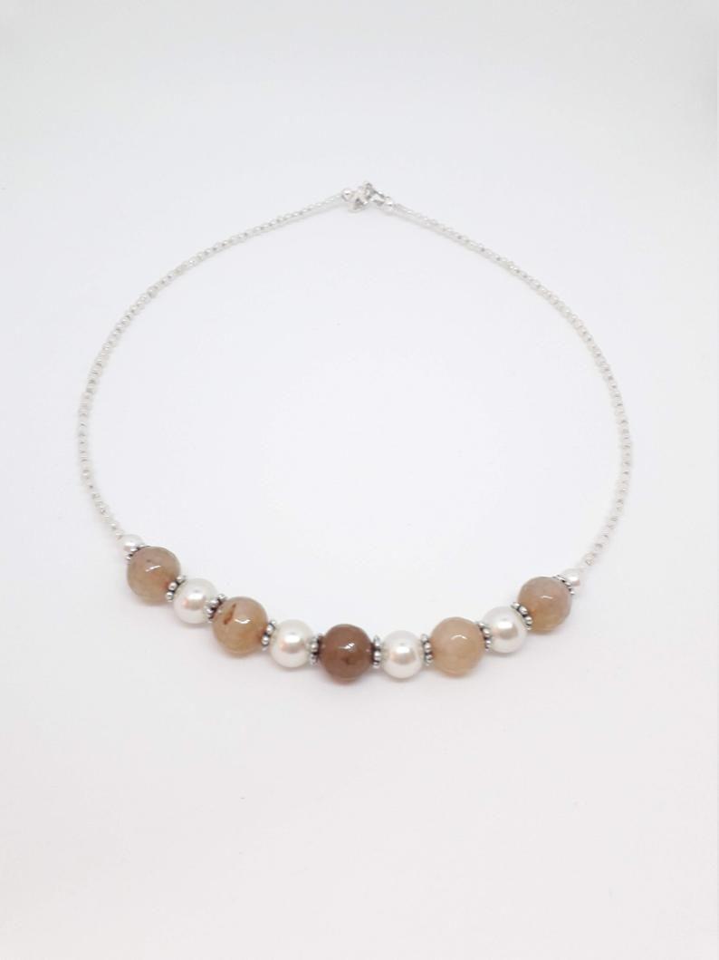 Light beige Agate Bead Necklace