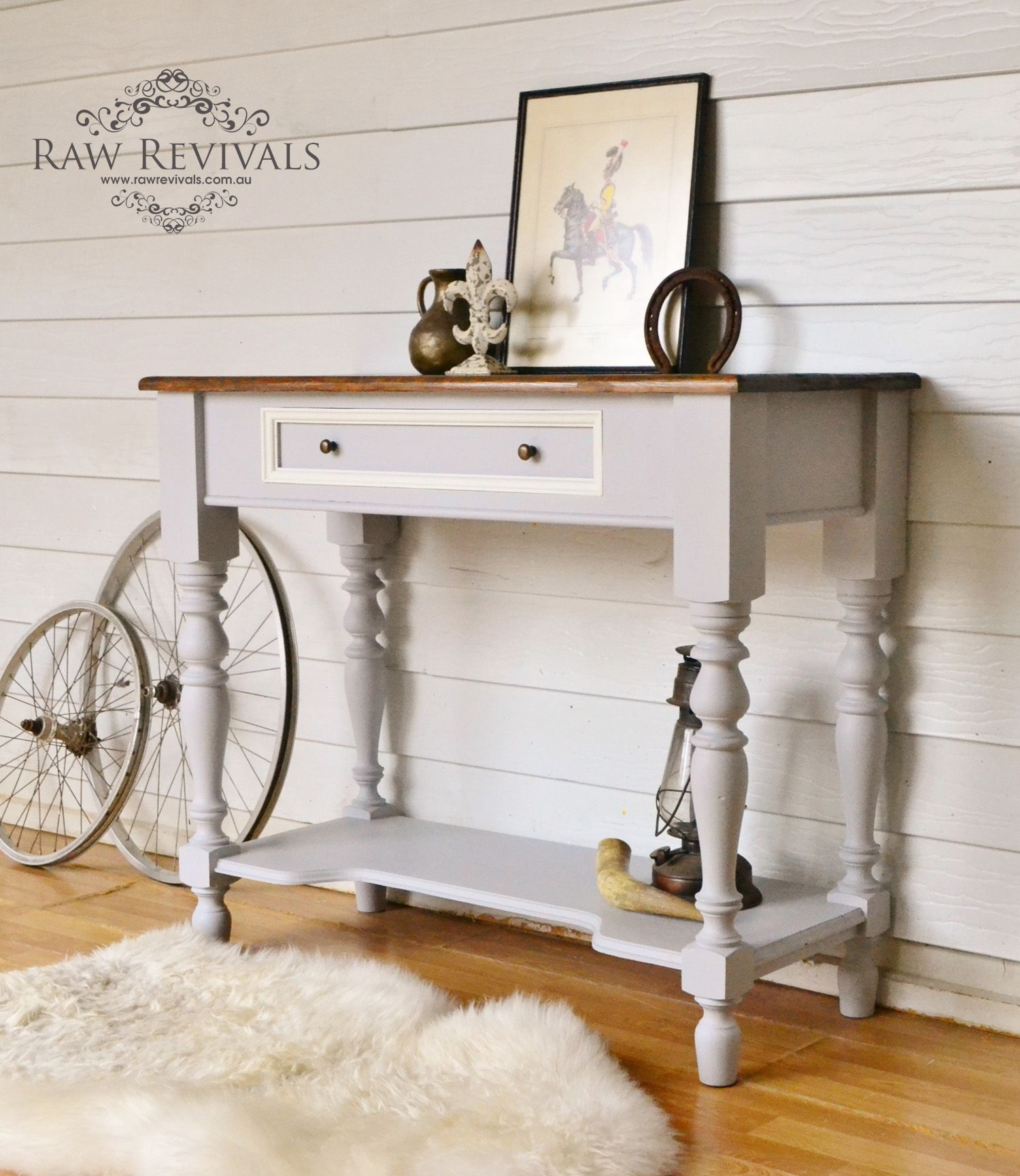 Vintage Hall Table Vintage Hall Table Painted In A Soft Grey With White Accents