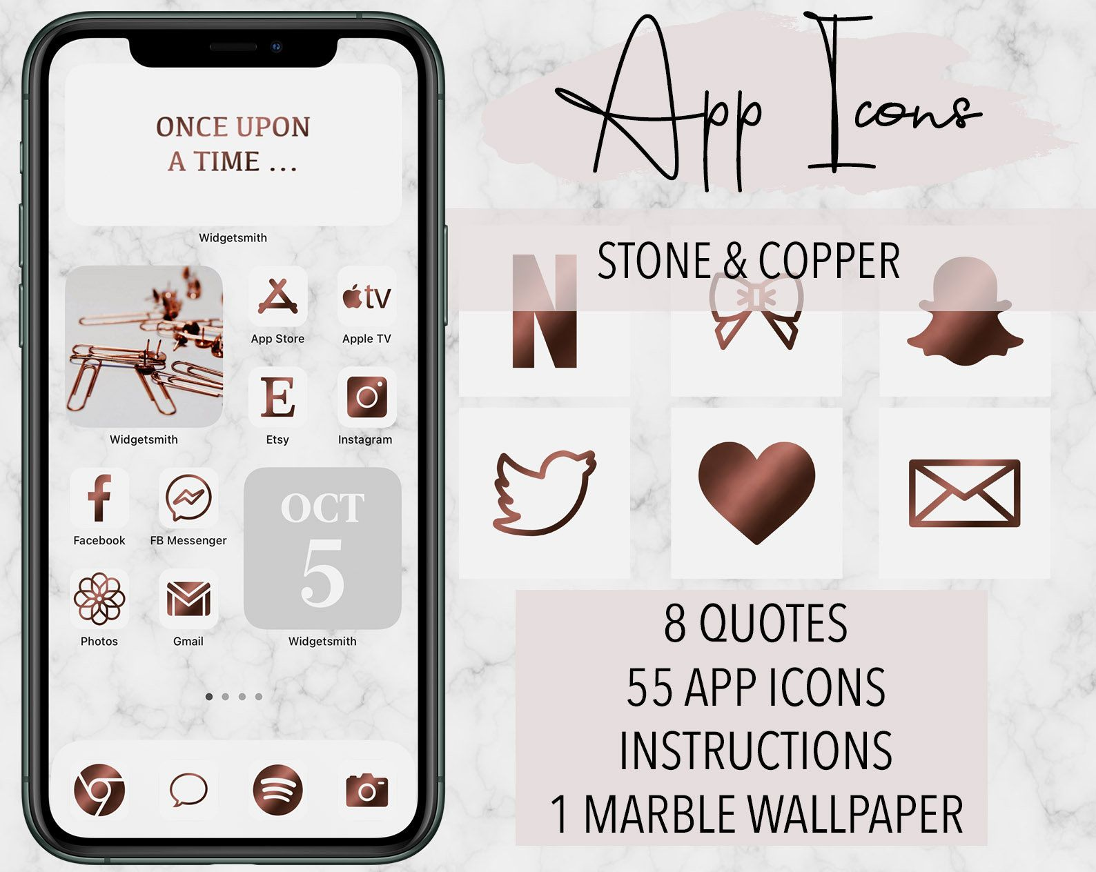 55 Set App Icons Stone And Copper Iphone Ios 14 App Covers Widget Quotes Marble Wallpaper Home Screen Theme App Icon App Covers Ios 14 App Covers